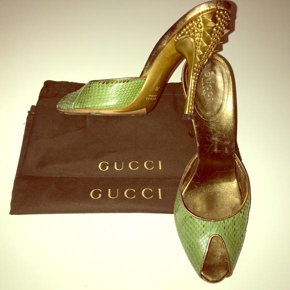 334a2c5803e Gucci Shoes - Gucci  1200 Tom Ford Era Gold Stud Python Heels 7